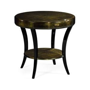 Dark Bronze Round Side Table w/ Drawer   Jonathan Charles