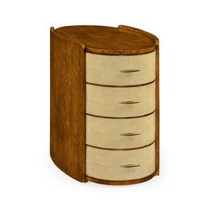 Ivory Shagreen Oval Bedside Chest Of Drawers | Jonathan Charles