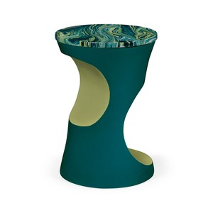 Teal Round Lamp Table