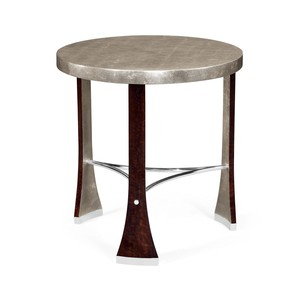Round Side Table with Stainless Steel Detailing | Jonathan Charles