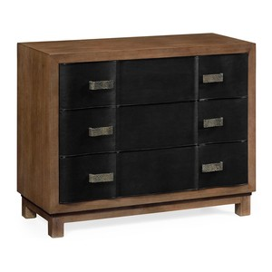Black Leather Inlaid Chest of Drawers