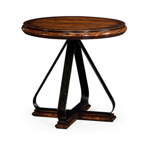 Round Side Table with Iron Base