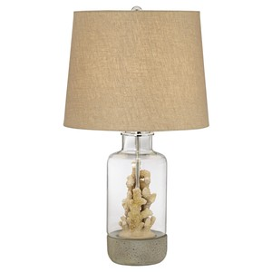 Glass Table Lamp with Faux Coral