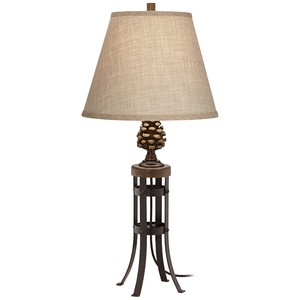Pine Cone Metal and Poly Table Lamp