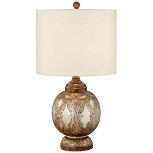 Moroccan Silver and Bronze Table Lamp