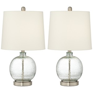 Glass and Metal Round Table Lamps (Set of Two)