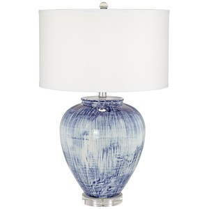 Big Blue Ceramic Vase Lamp