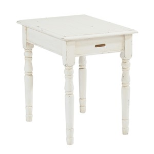 Primitive End Table in White