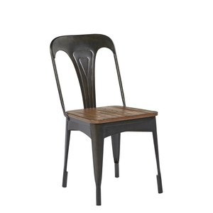 Metal Cafe Side Chair with Wood Seat   Magnolia Home