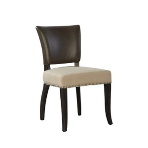 Leather and Linen Side Chair