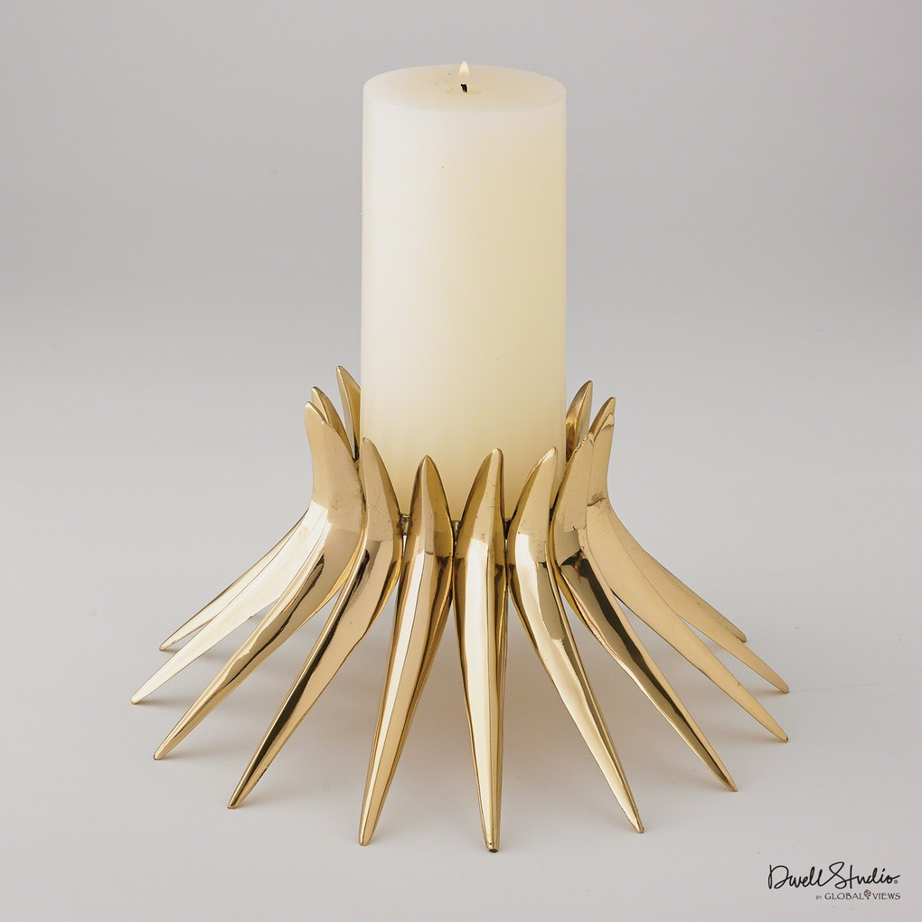 Corona Candleholder in Brass | Global Views