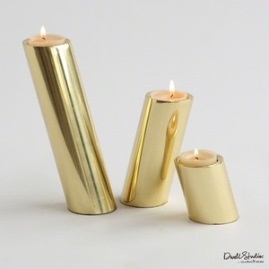 Set of Three Brass Slanted Candleholders