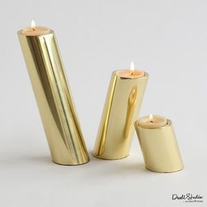 Set of 3 Brass Slanted Candleholders