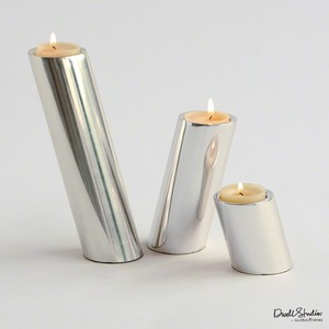 Set of Three Nickel Slanted Candleholders | Global Views