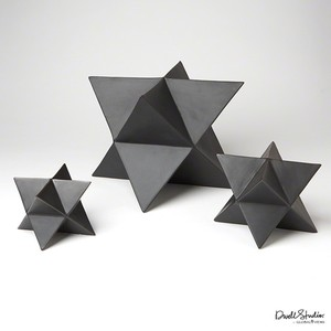 Set of Three Star Sculptures in Matte Black | Global Views