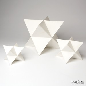 Set of Three Star Sculptures in Matte White | Global Views