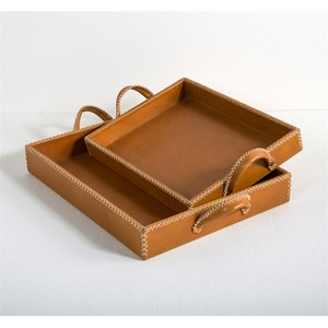 Set of Two Greer Leather Trays | Interlude Home