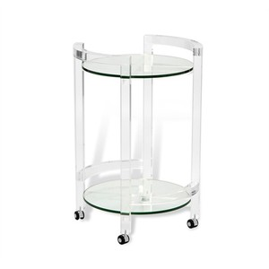 Ava Round Bar Cart in Clear