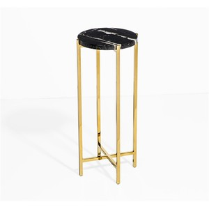 Laurent Round Drink Table in Black | Interlude Home