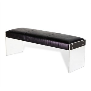 Aiden Leather Bench in Black | Interlude Home