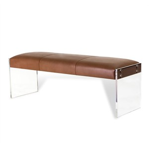 Aiden Leather Bench in Taupe