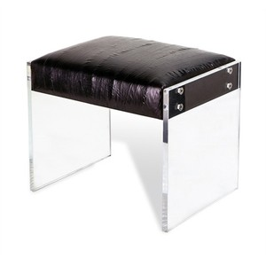Aiden Leather Stool in Black