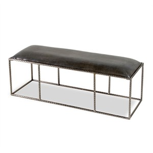 Ethan Leather Bench in Gray