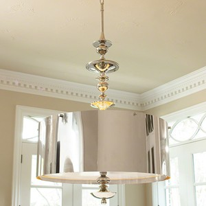 Turned Pendant Chandelier in Nickel | Global Views
