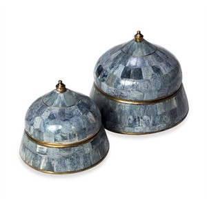 Set of Two Suri Round Boxes in Gray | Interlude Home