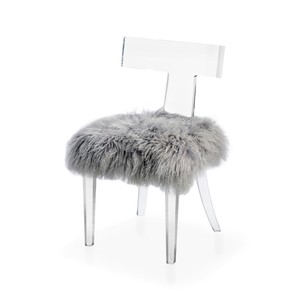 Tristan Klismos Dining Chair in Gray Sheep Skin