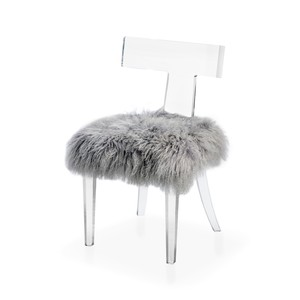 Tristan Klismos Dining Chair in Gray Sheep Skin | Interlude Home