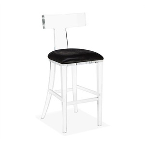 Tristan Klismos Barstool in Black Hide | Interlude Home