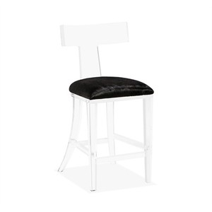 Tristan Klismos Counter Stool in Black Hide