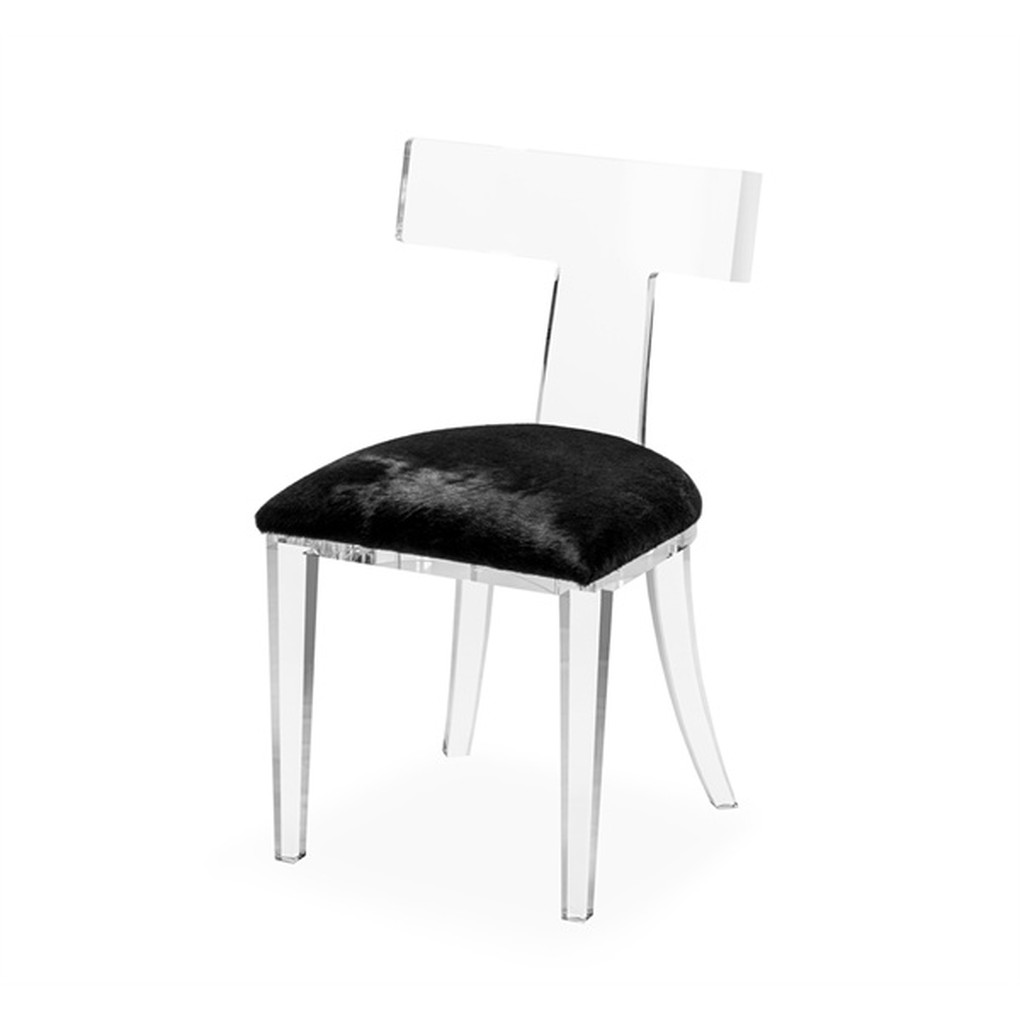 Tristan Klismos Dining Chair in Black Hide | Interlude Home