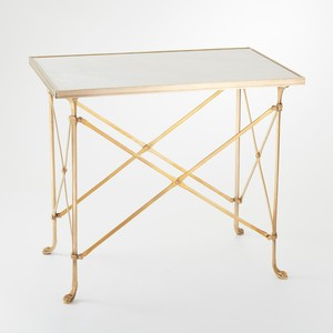 Brass and White Marble Rectangle Directoire Table