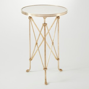 Brass & White Marble Directoire Table