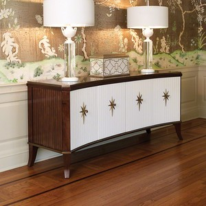 Walnut Klismos Media Cabinet with White Doors | Global Views