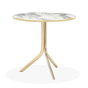 Carina Bistro Table in Arabescato and Brass | Interlude Home