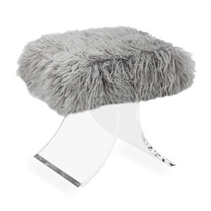 Serena Stool in Gray Sheep Skin