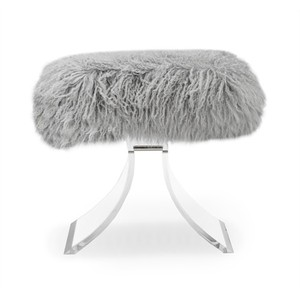 Serena Stool in Gray Sheep Skin | Interlude Home