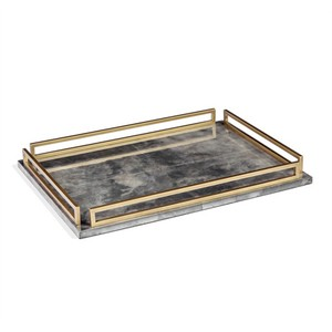 Seraphina Grand Tray in Charcoal Vellum | Interlude Home