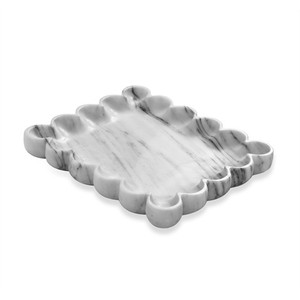 Bliss Scalloped Tray in Arabescato | Interlude Home