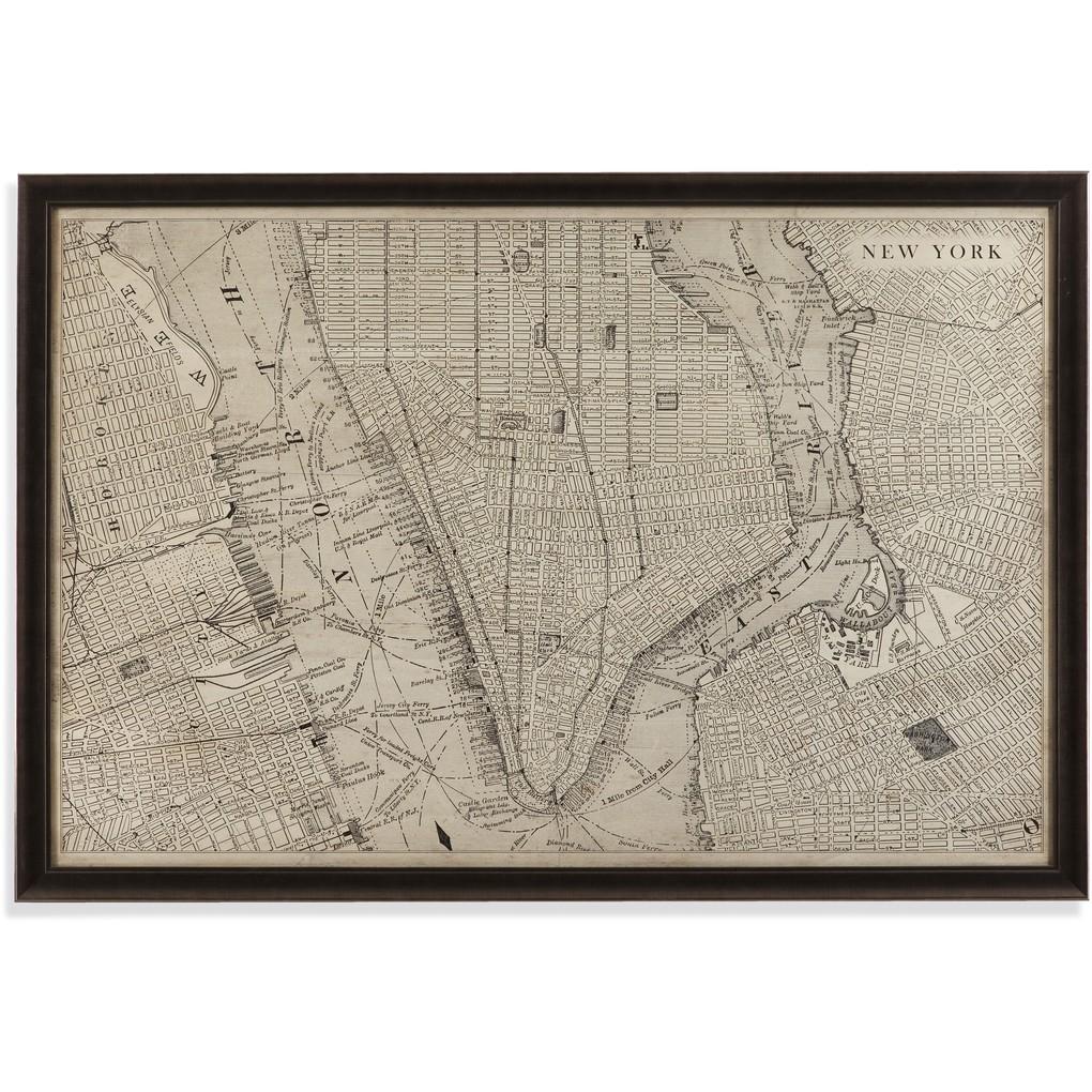 Vintage Map of New York | Bassett Mirror