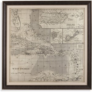 Vintage Map of Caribbean | Bassett Mirror