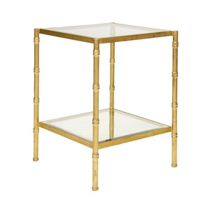 Gold Leaf Antique Color with Glass BambooTable