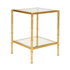 Gold Leaf Antique Color with Glass BambooTable | Worlds Away
