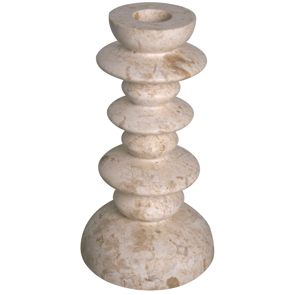 Roger Candle Stick in White Marble | Noir