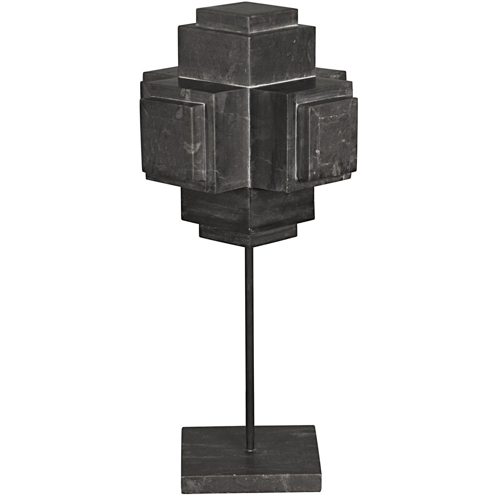 Cube on Stand in Black Marble | Noir
