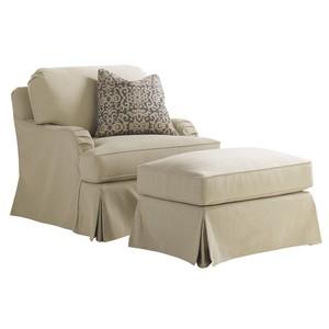 Stowe Swivel Slipcover Chair in Khaki   Lexington