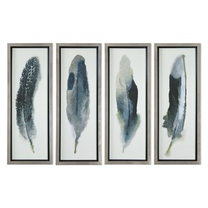 Feathered Beauty Art-Set of Four